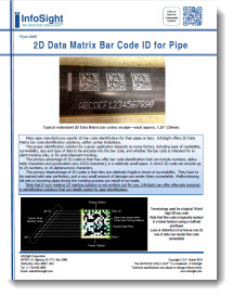 2D Data Matrix Barcode ID for Pipe - InfoSight Corporation