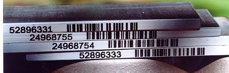 Barcodes on metal plate edges