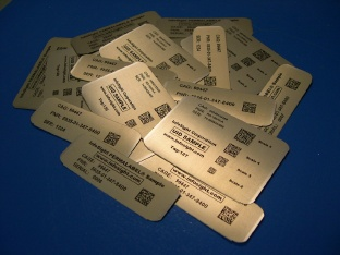 Sample UID metal identification tags on PERMALABEL® tag material