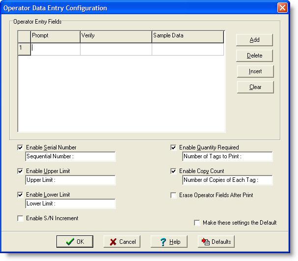 LabeLase Producer - Operator Data Entry Form